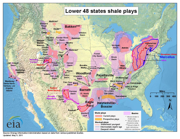 The national shale boom, as of 2011. (Courtesy of the Energy Information Administration)