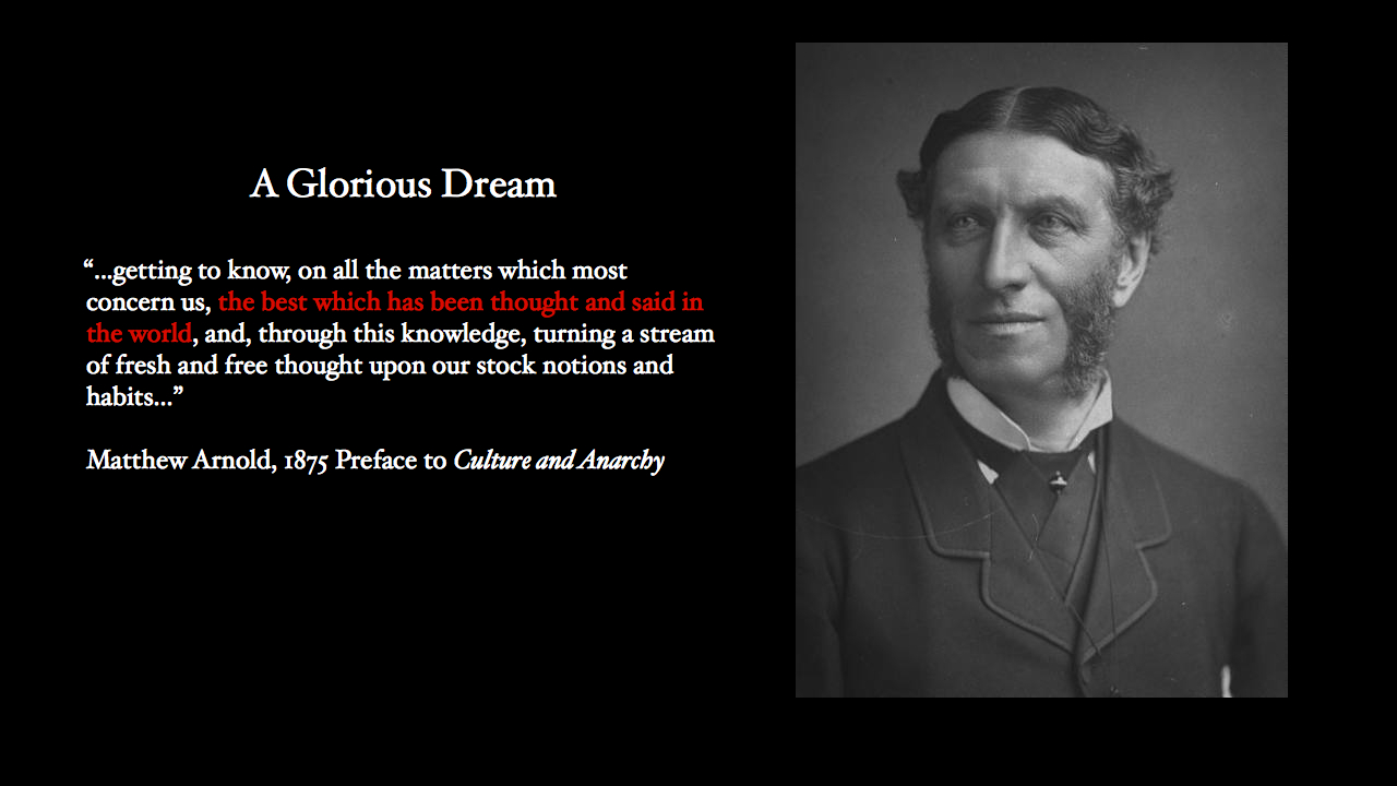 This is Matthew Arnold, the eminent Victorian literary critic and educator. He had magnificent mutton chops and a glorious dream – to enlighten and liberate the masses ...... of Culture that is the best that has been thought and said in the world.