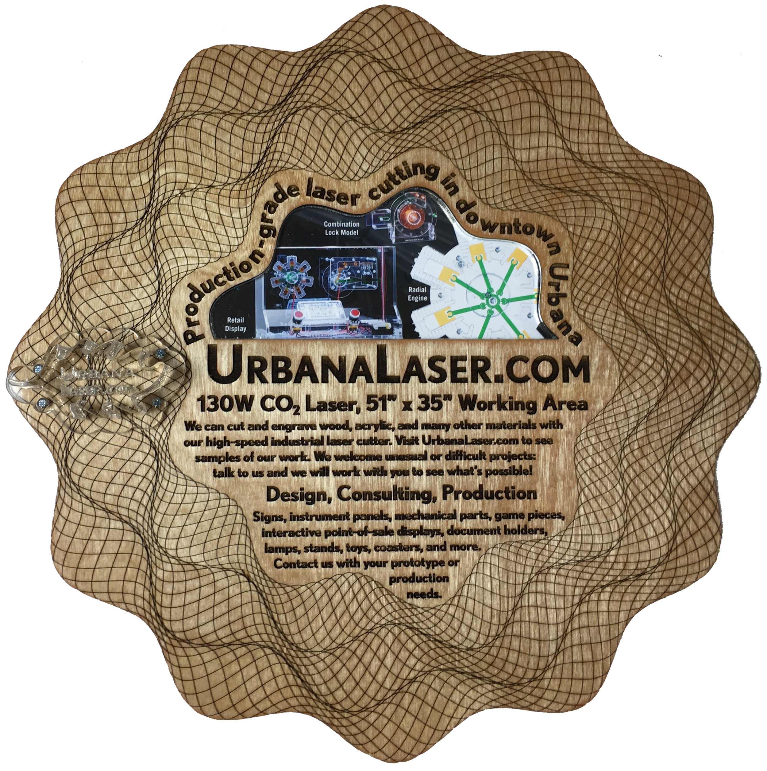 "UrbanaLaser.com  is an offshoot of my work on  mechanicalgifs.com . Under the Urbana Laser umbrella we offer laser cutting services to the local (Urbana-Champaign, Illinois) community using our large-format 130W, 51"" x 35"" working area CO2 laser cutter."