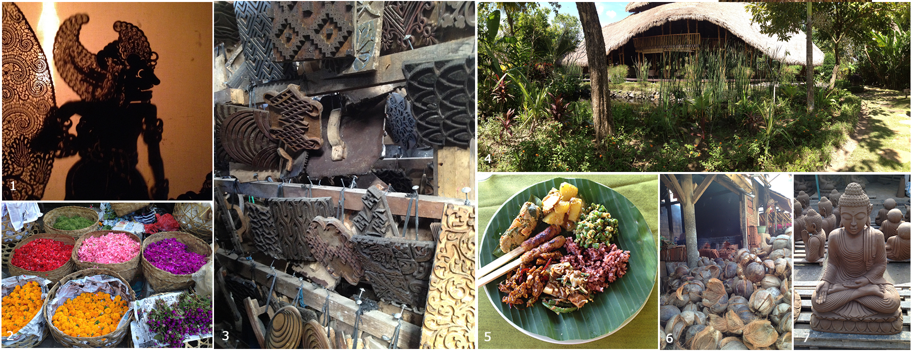 1. Shadow puppet evening preformance  2. Flower petals as offering materials at the Ubud Market  3. Batik Stamps at a production village 4. Five Elements restaurant and spa where we had lunch  5. Meal we made in cooking class  6. Coconut husks used as fuel for kiln firing roof tiles  7. Buddha drying in the sun at statuary production village.