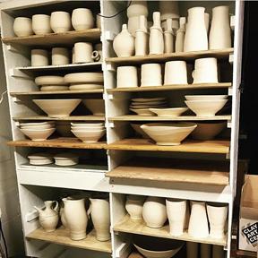 Shelf full of greenware