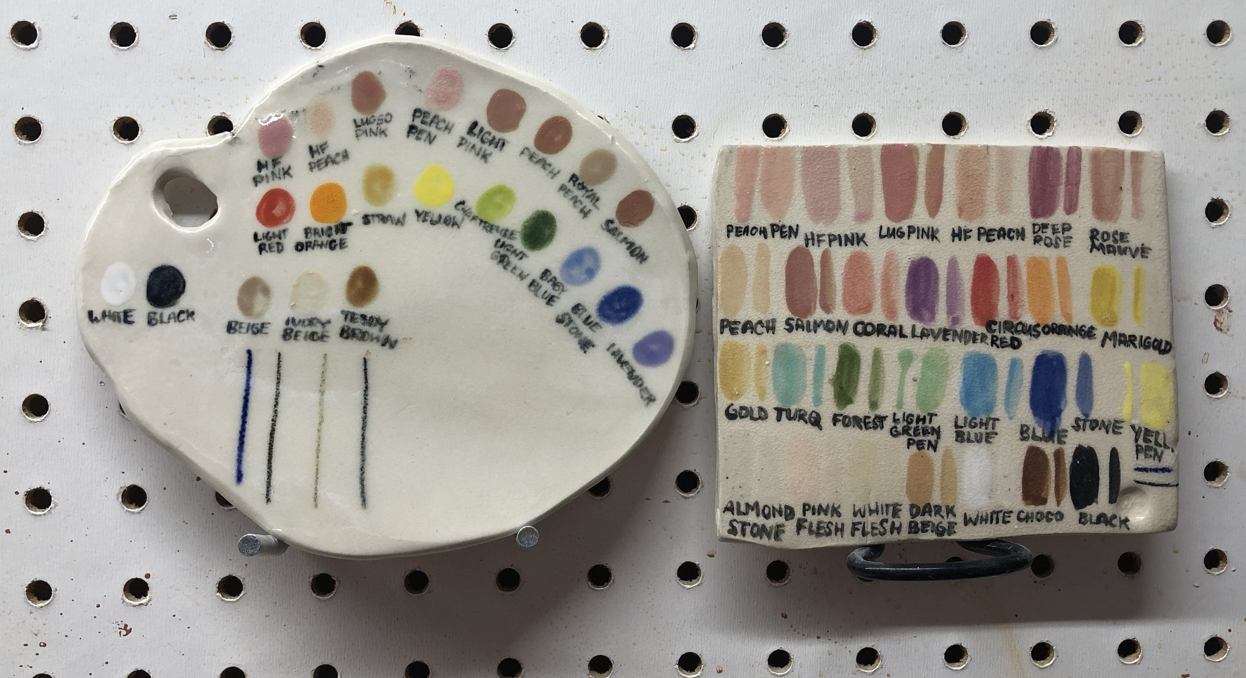 Underglaze palette tiles, porcelain (left) and stoneware (right) fired to ∆5.