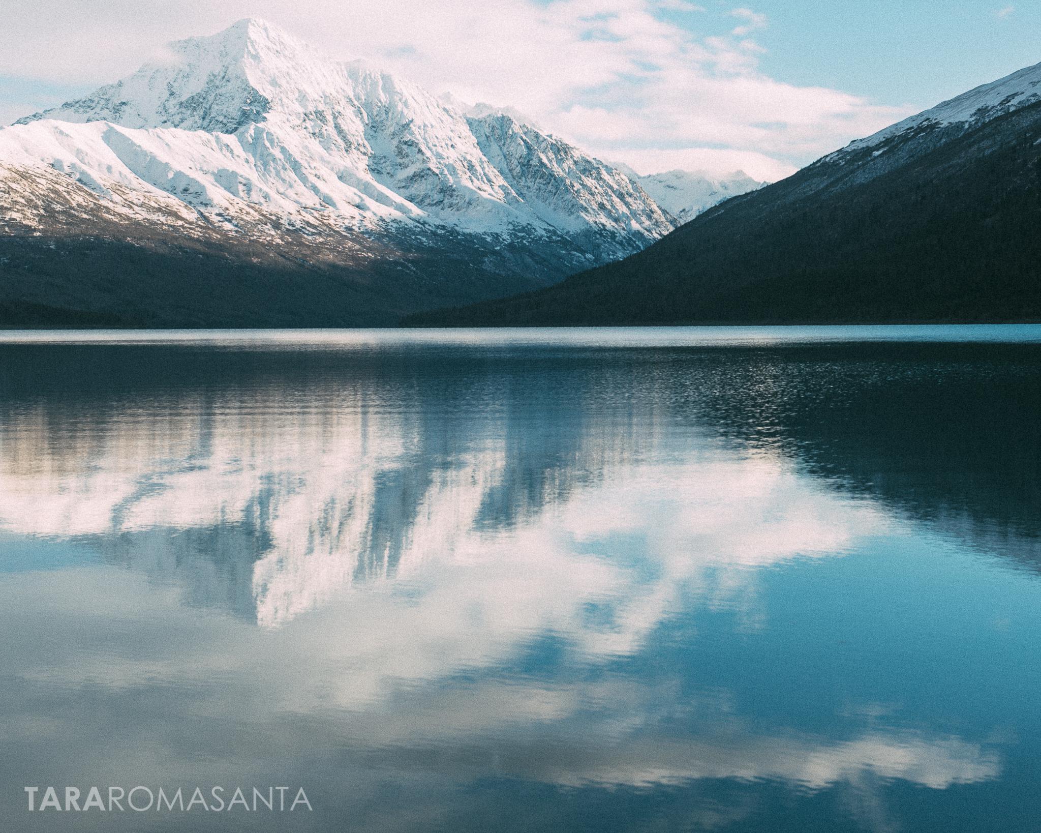 reflected mountain at lake eklutna alaska by lifestyle phtoographer tara romasanta