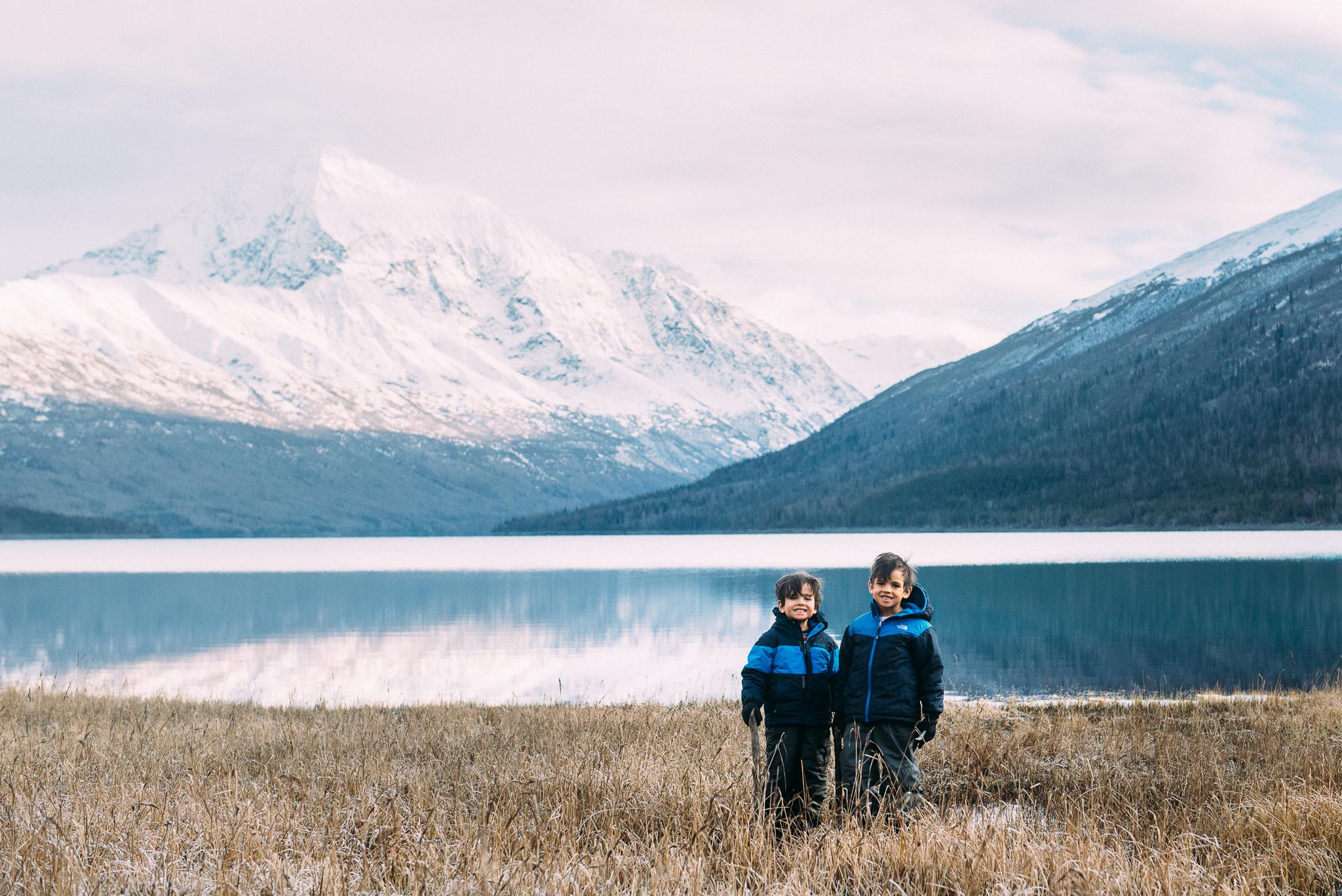 smiling boys at lake eklutna