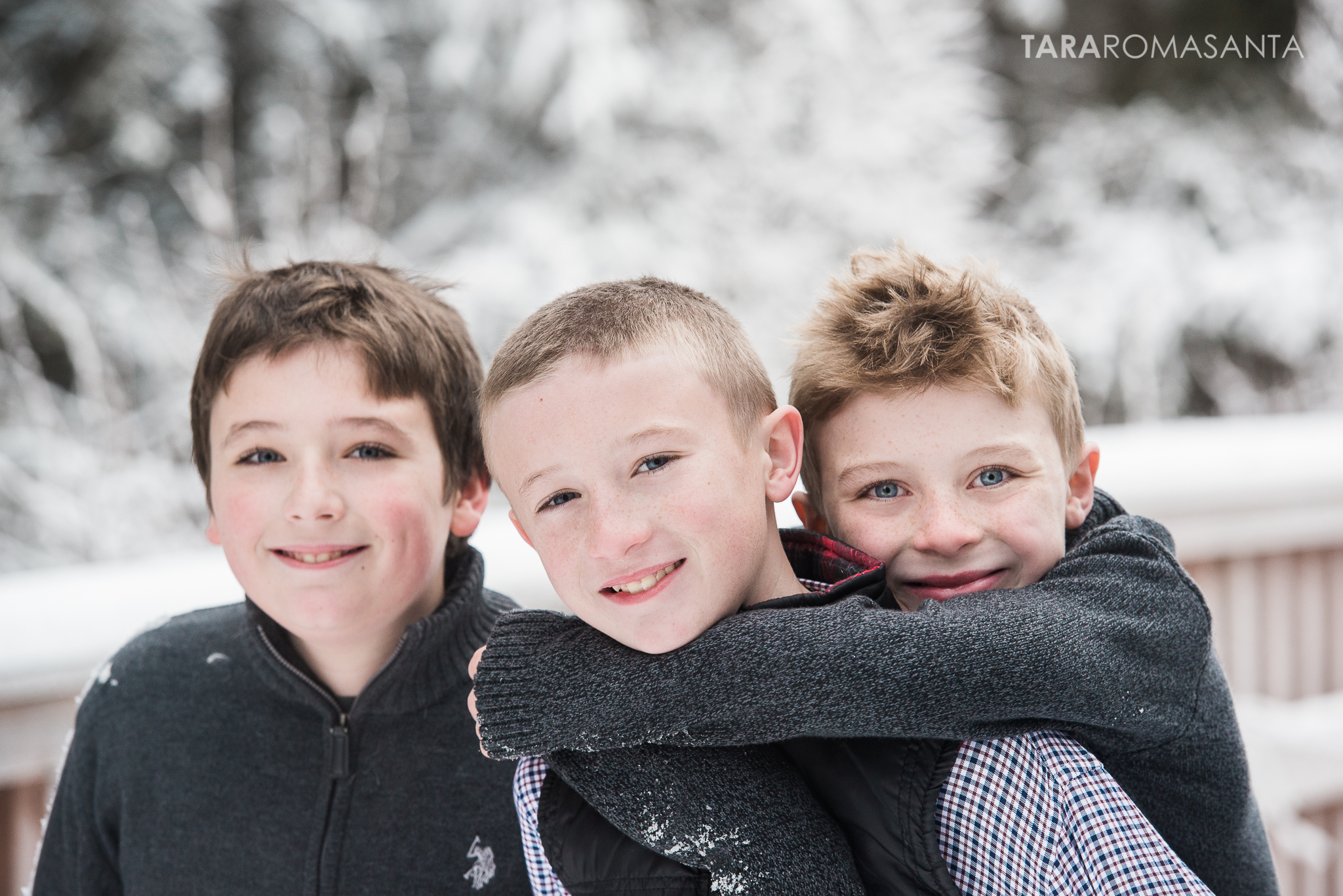 I loved this entire shoot -- these three are a hoot and also always on the move. This was towards the end and I asked the oldest brother if he was too old or too young to give piggy back rides. He immediately got his littlest brother on his back. Mom said: They look like they like each other! :)