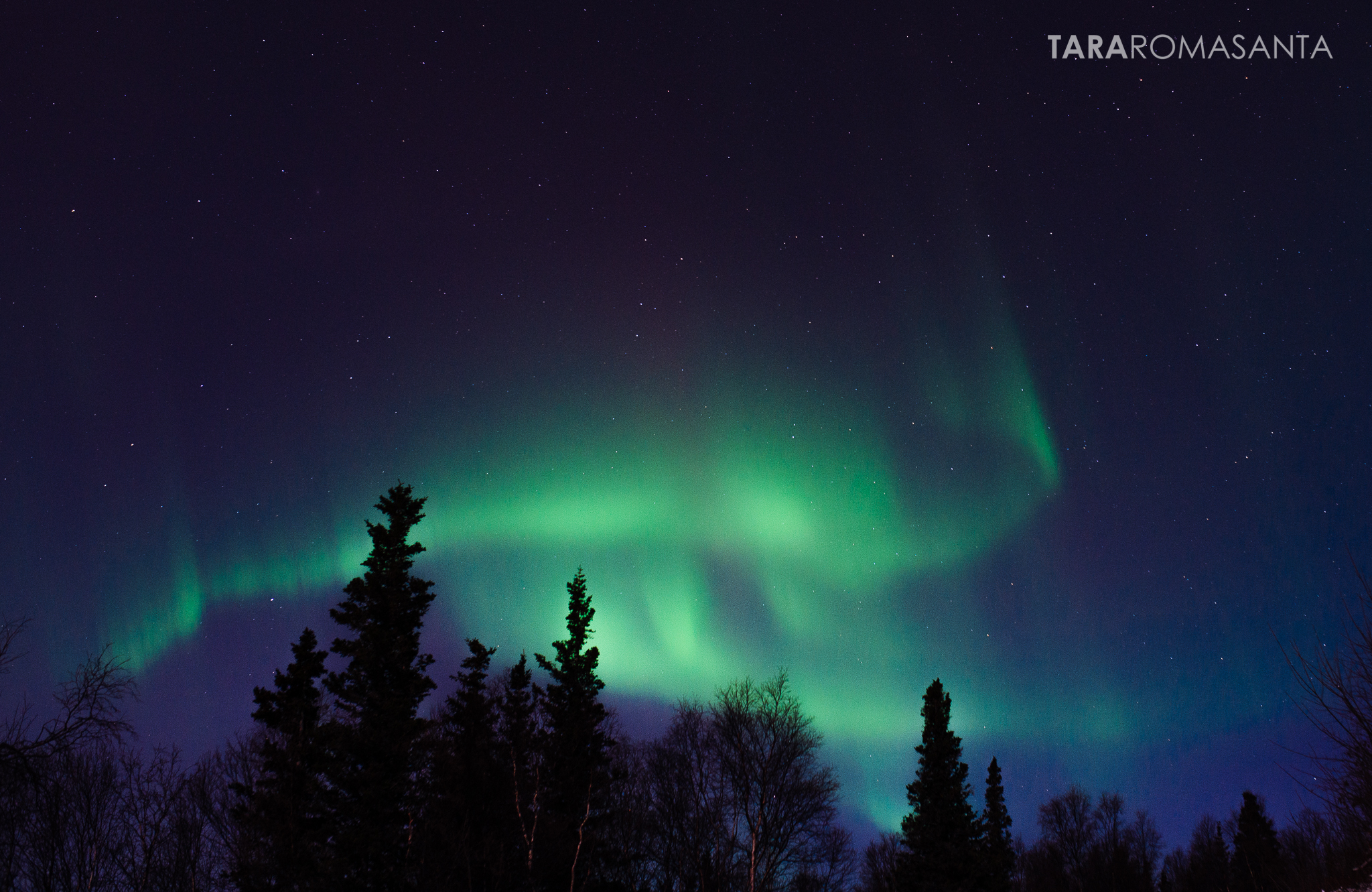 The aurora borealis tells stories in the night sky.