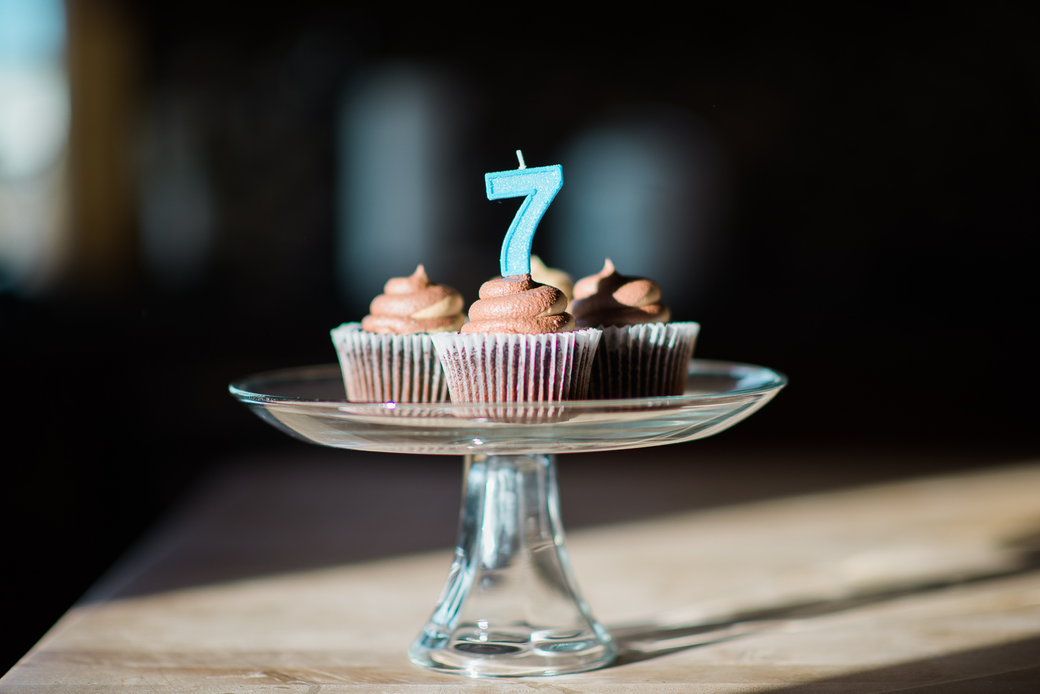 cupcakes with a seven candle