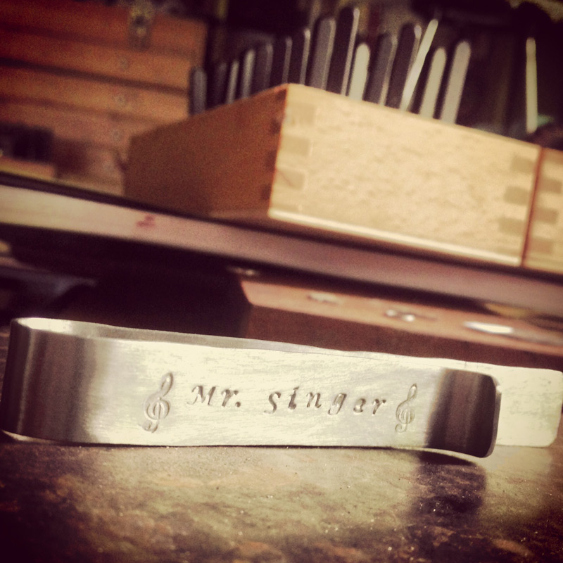 Over-sized sterling silver hand stamped tie bar for Mr. Singer of Sharp Cookies.