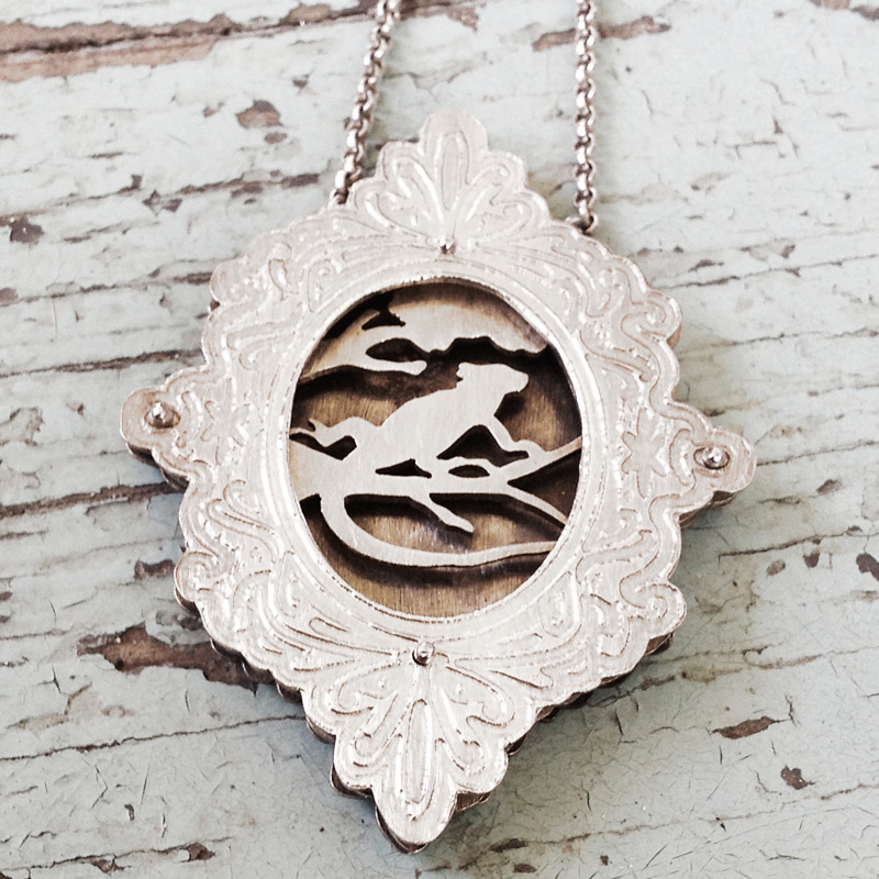 Large etched shadowbox necklace with lizard on a tree limb for Sue Foster.