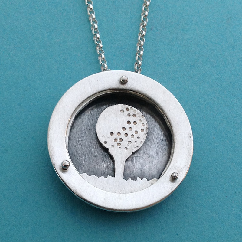 Large Circle Shadowbox golf ball and tee necklace.