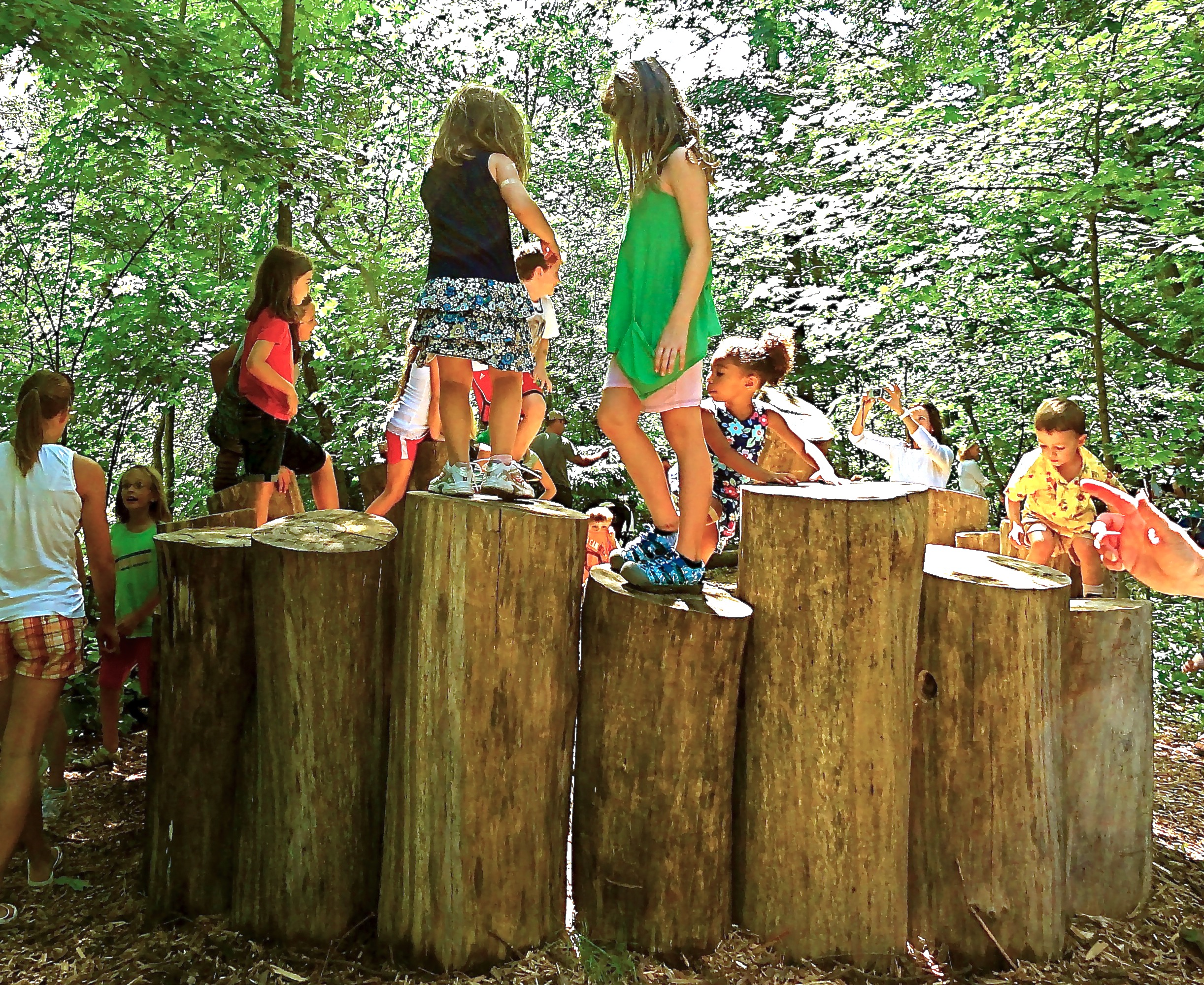 "A circular permanent armature constructed from locally harvested timber, combined with ""free"" natural loose parts, provides intergenerational play. Each day, this favorite play component is covered by 'rooftop' found natural objects from the site, such as branches, twigs, and foliage."
