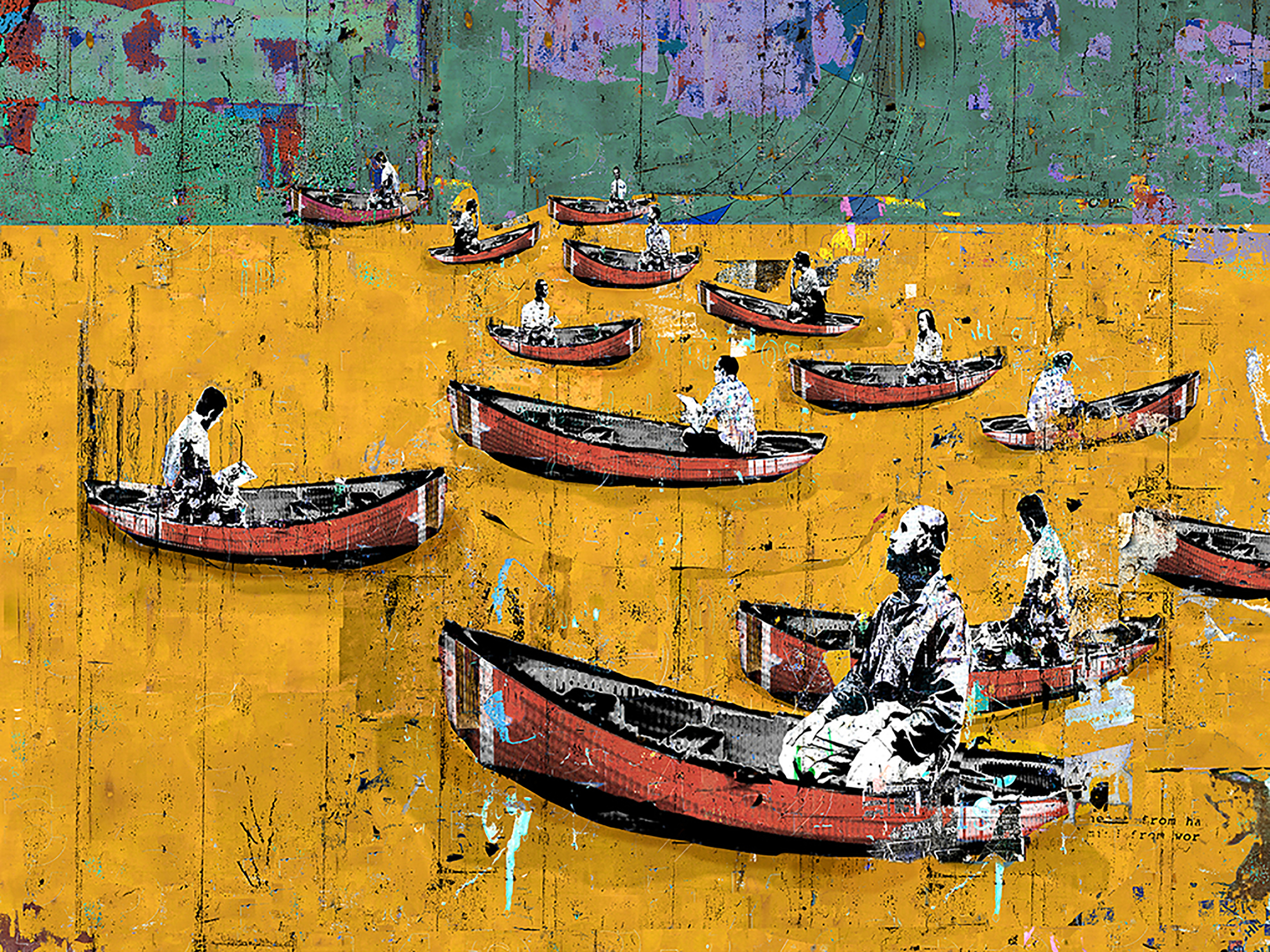 "Man in a Boat Alone, 2014, Diptych, Inkjet on aluminum, 60"" X 81"""
