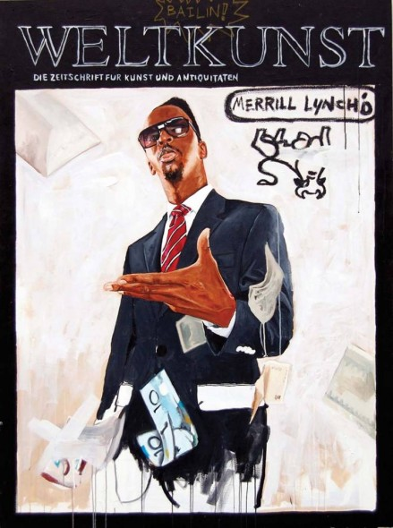 "Merrill Lynch'd, 2009, Acrylic and oil stick on canvas, 70"" x 54"""