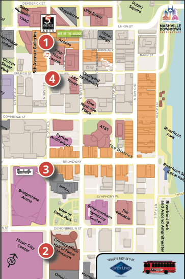 Gallery List & Shuttle Map  provided by the Downtown Nashville Partnership
