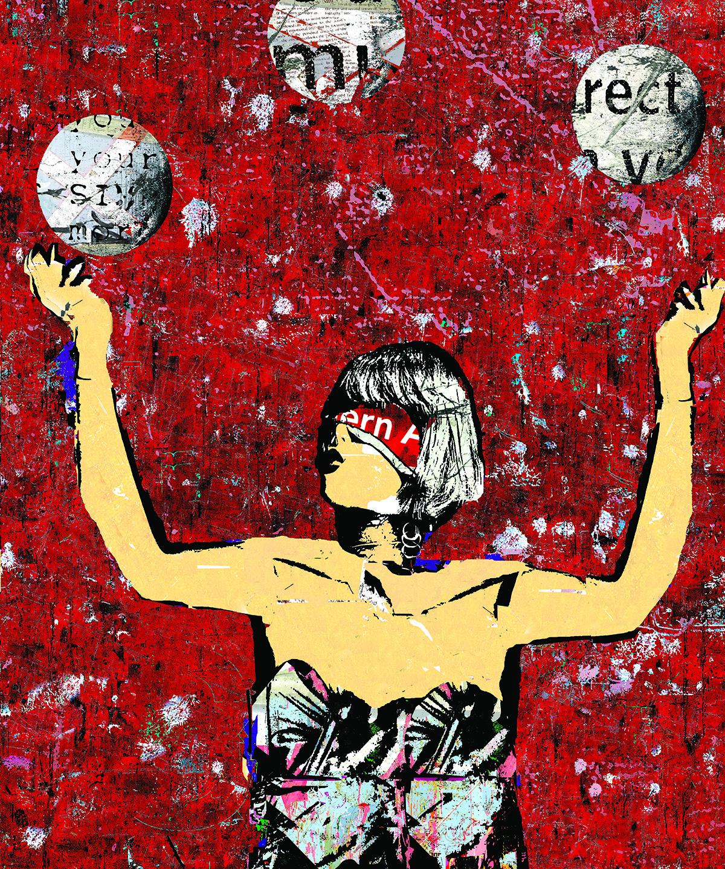 Red Blindfolded Juggler