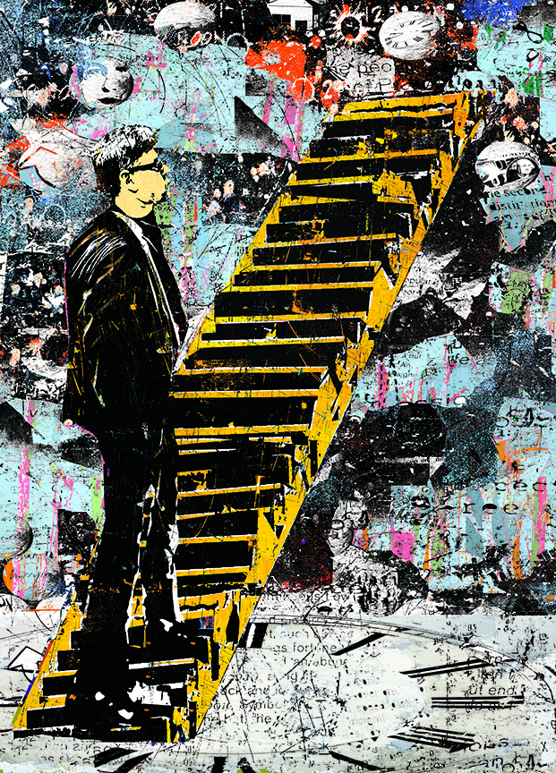 Man Contemplating Stairs