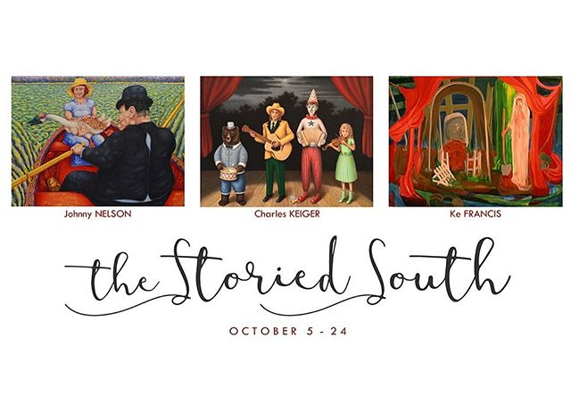 """Tomorrow marks the start of """"The Storied South"""" ✨ Highlighting the visual splendor of the region through the eyes of three Southern artists, Johnny Nelson, Charles Keiger and Ke Francis, this is bound to be an epic exhibition of literary proportions. Don't msss it! #TheStoriedSouth"""
