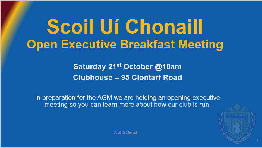 This Saturday, Oct 21st we are holding an open Executive meeting in the clubhouse at 10am to give all our members the chance to learn more about how our club is run.   All Adult members - and parents of members - are encouraged to come along and find out what work our Executive Committee does.   The AGM will be held on  Thursday 30th November  in the clubhouse. All adult members are encouraged to attend and have their say in how our club is run.