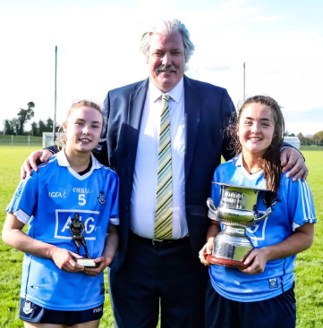 Hannah (POM) pictured with teammate Sarah Fagan (Clontarf GAA) after winning the Leinster Final