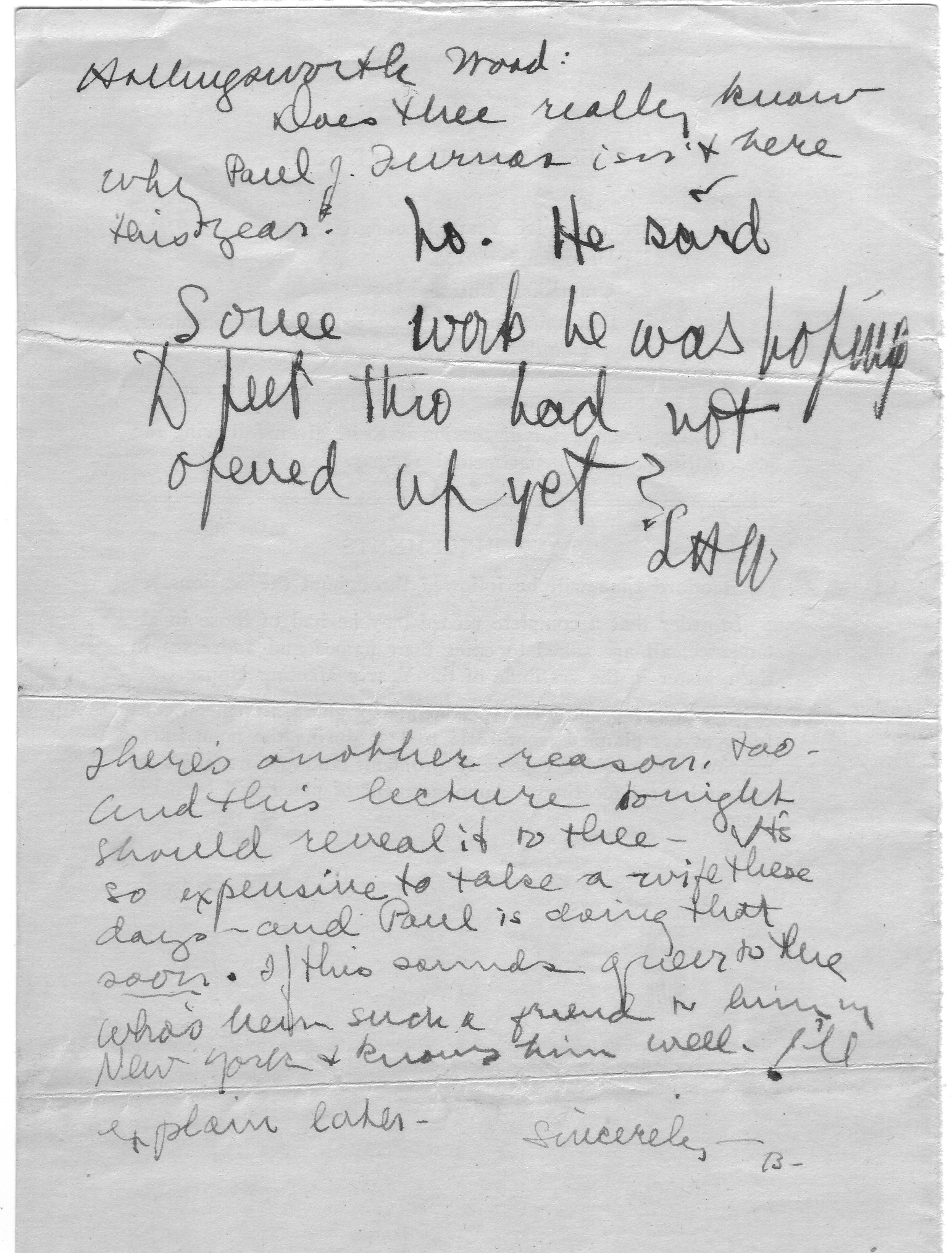 Note passed between Betty and Hollingsworth hinting at her engagement to Paul
