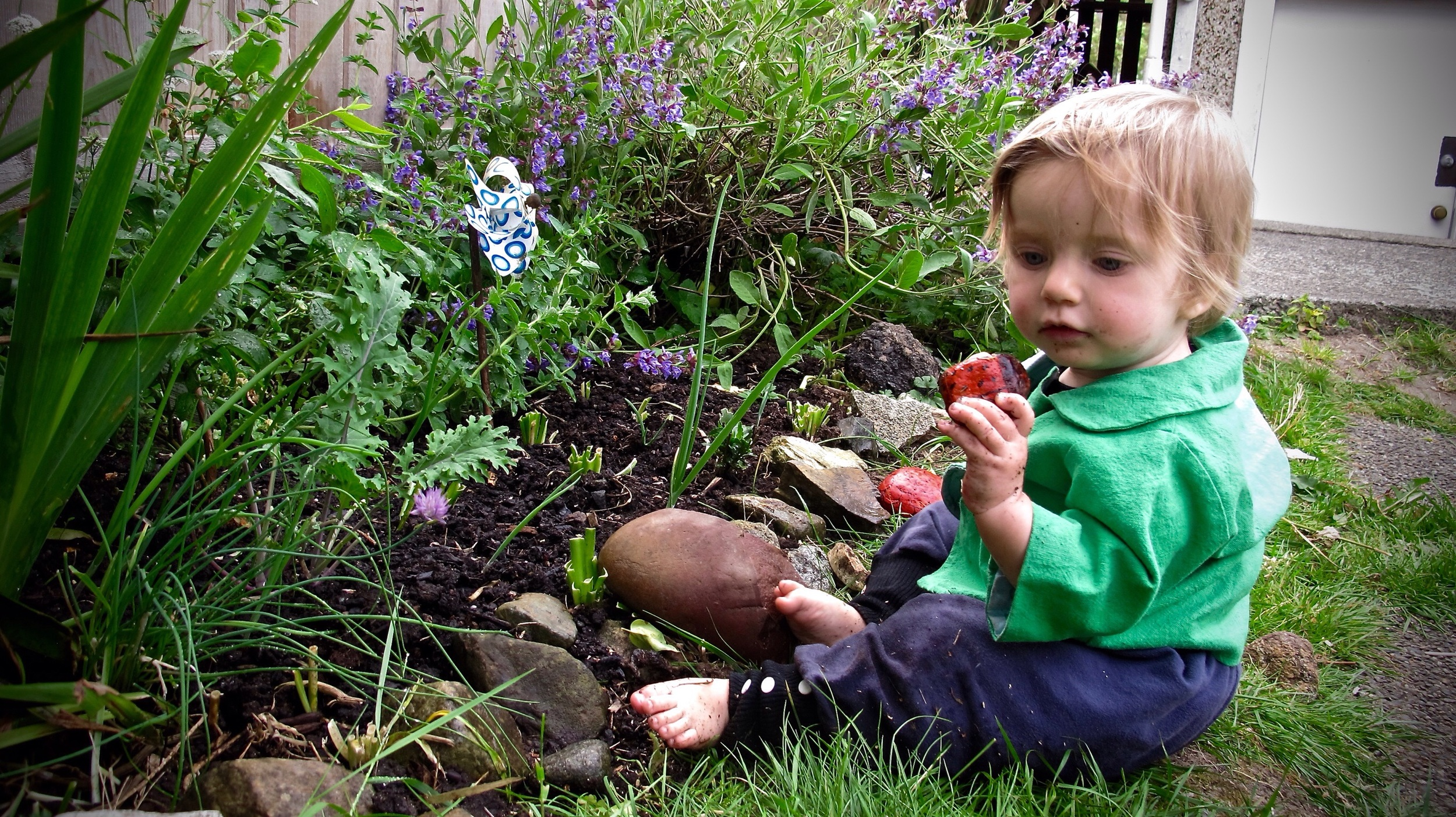 Checking out rocks in our garden