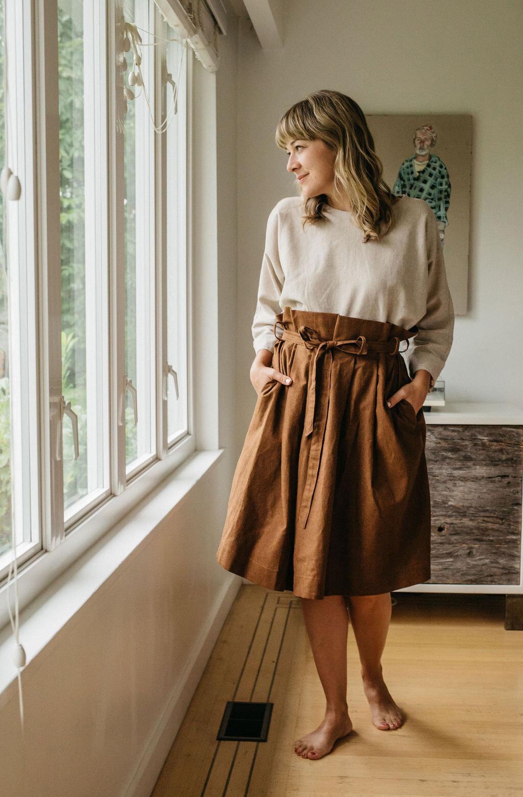 Annie skirt  in brown linen/cotton