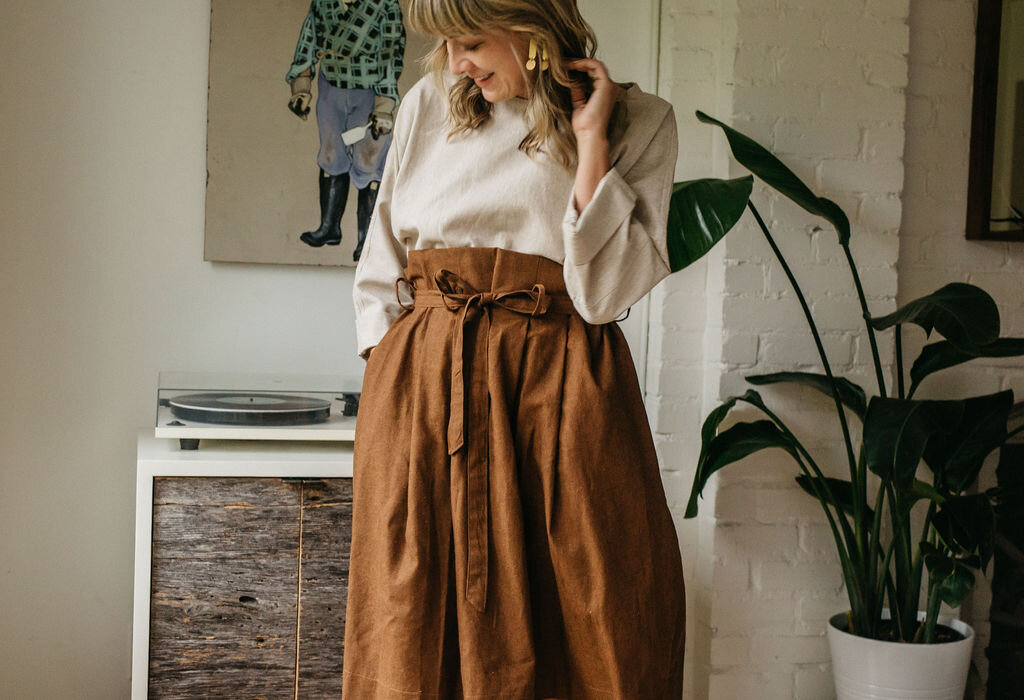 Annie skirt  in brown linen, shown with our  Greta top .