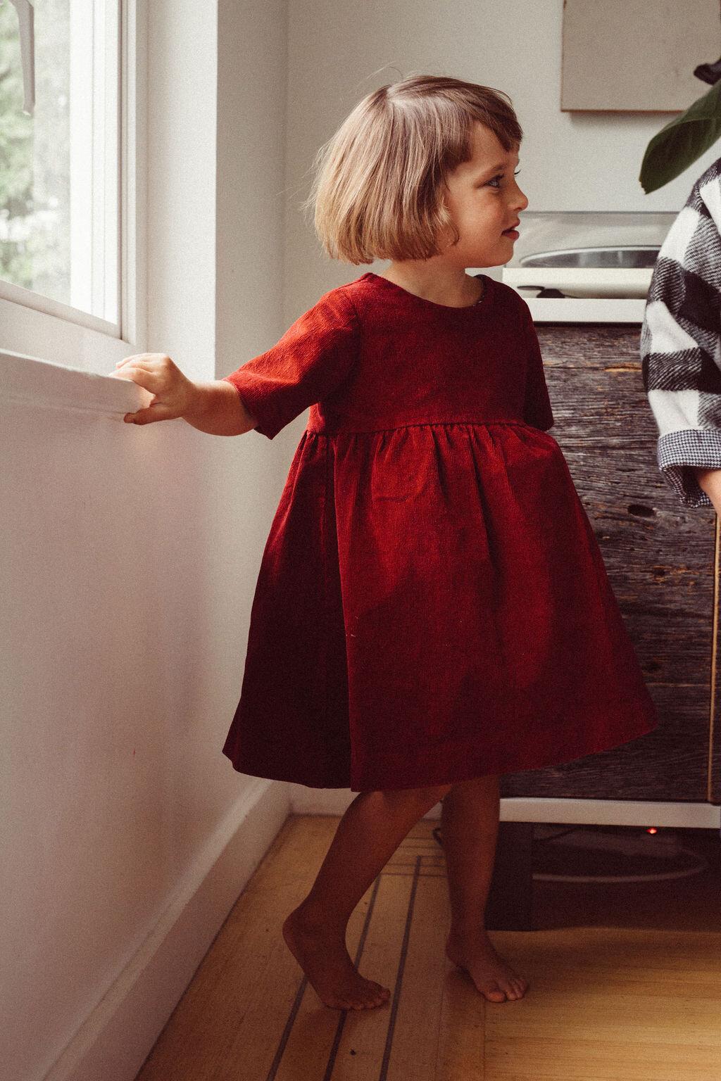Emily short sleeve corduroy  dress
