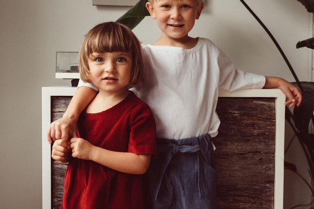 Kids  Greta top ,  karate pants , and  Emily dress .