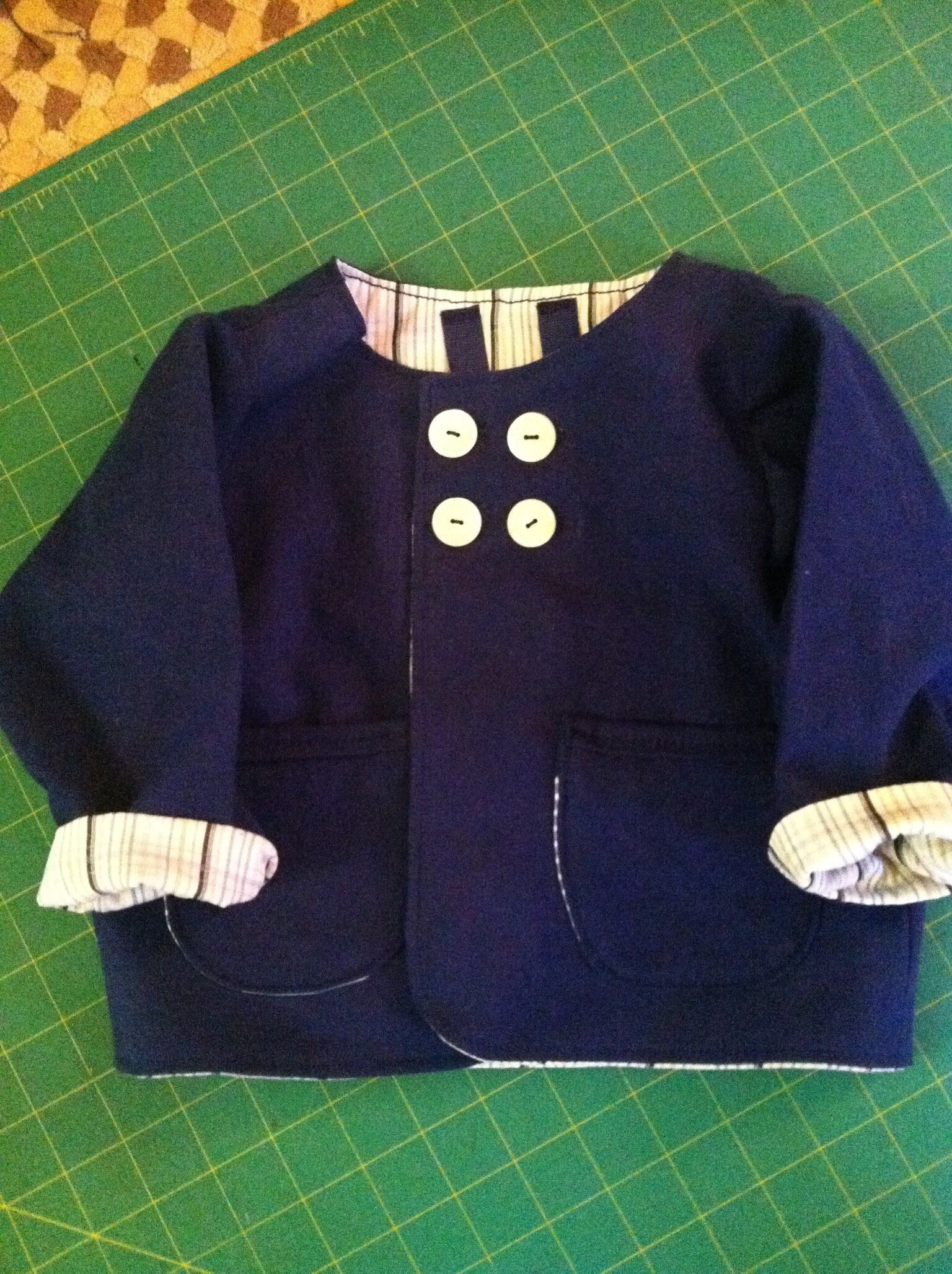 Early version of our Baby Jacket Hemp/organic cotton fabric lined with a men's shirt