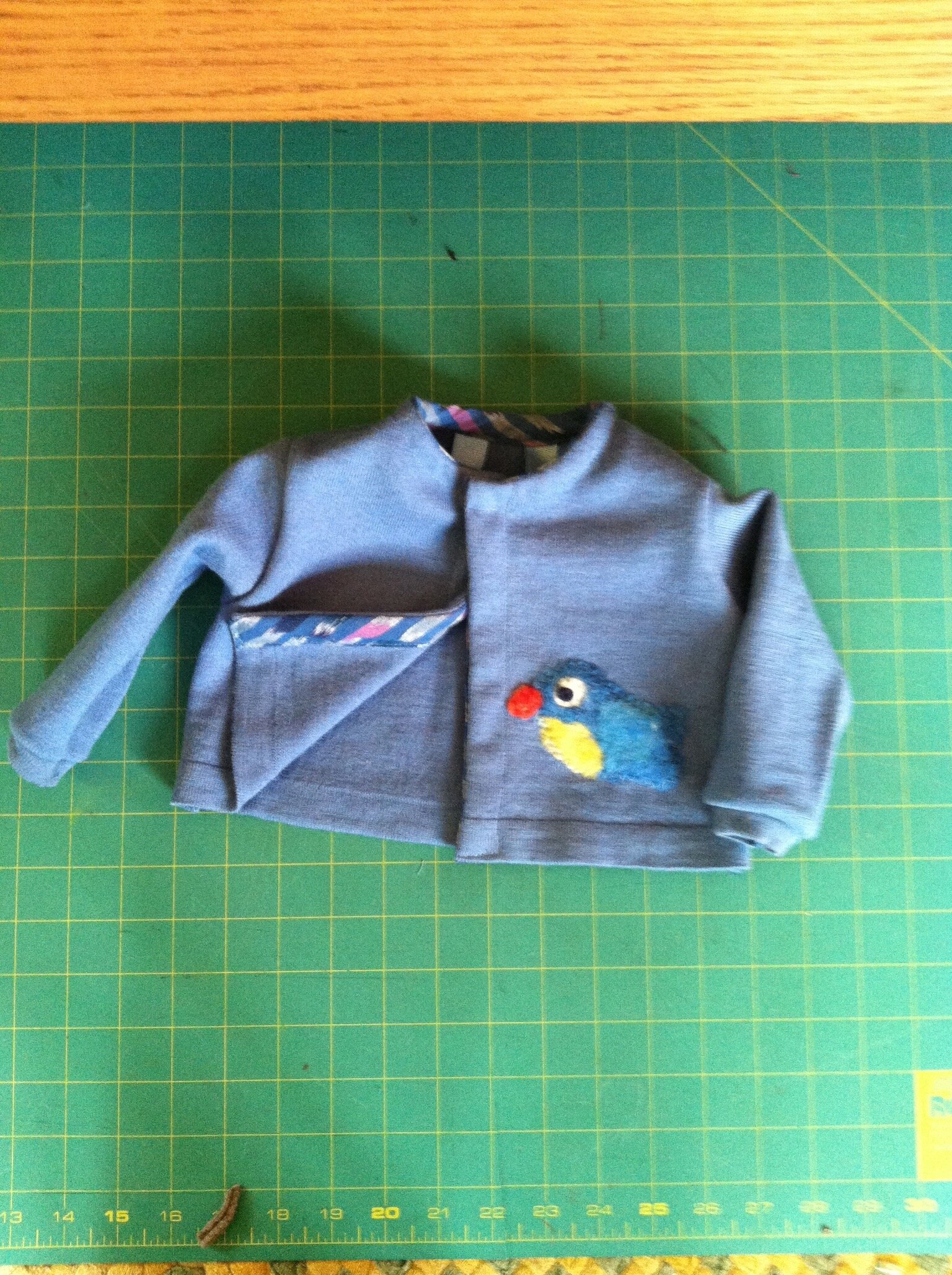 Moth eaten merino wool sweater up-cycled into a baby sweater with felted bird just for fun