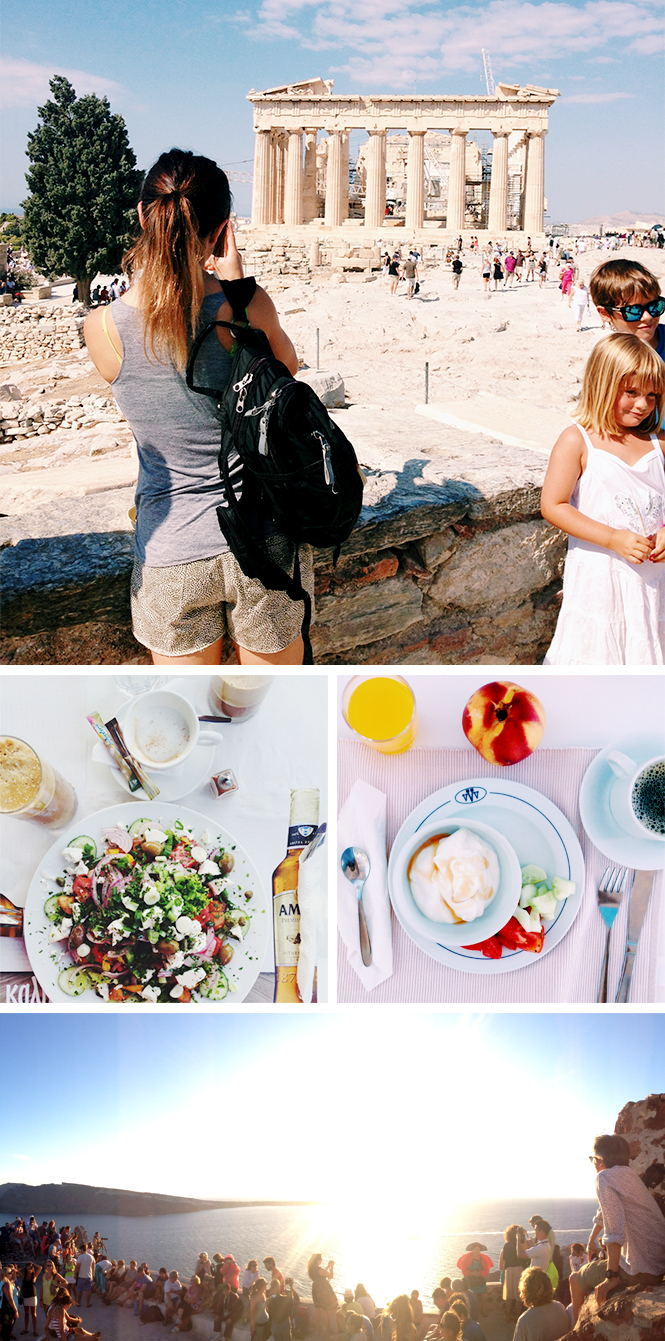 Top: Athens / Middle: Santorini meals / Bottom: Sunset in Oia