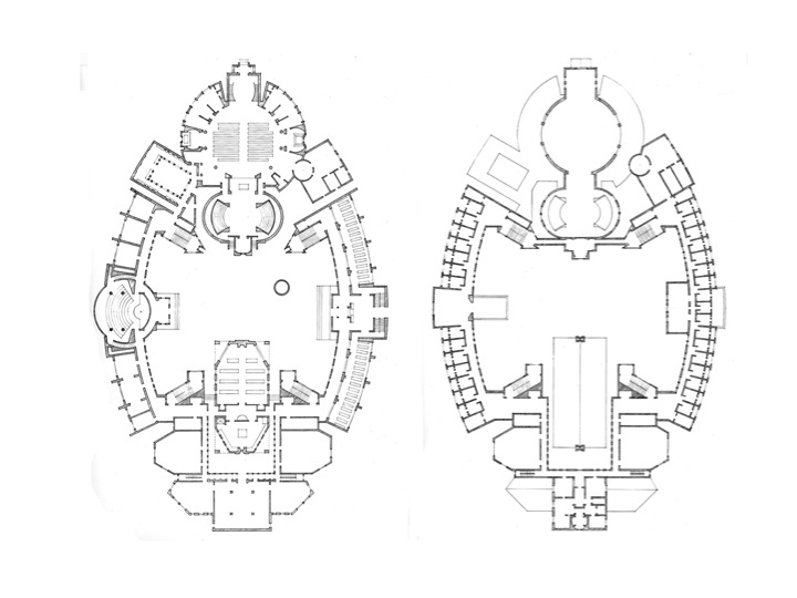 Monastery Proposal, 1st & 3rd floor plans, 1984
