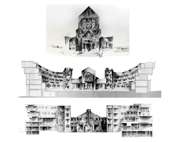 Monastery Proposal, front entry elevation (upper), cross-sectional perspective looking west (middle), cross-section looking east (lower), 1984
