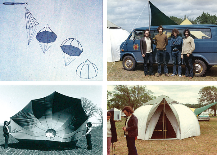 Top Left: this sketch shows the dropping and opening of the airdrop disaster shelter. Bottom Left: an airdrop project demonstration. Top Right: the airdrop project crew: Peter Kuttner, Randall Lasky, Shaun Jackson and Terry Beaubois. Bottom Right: a prototype of the airdrop shelter, a nylon dome-shaped structure with fiberglass tubular poles. It opened immediately upon landing on the ground and could provide shelter for six adults.