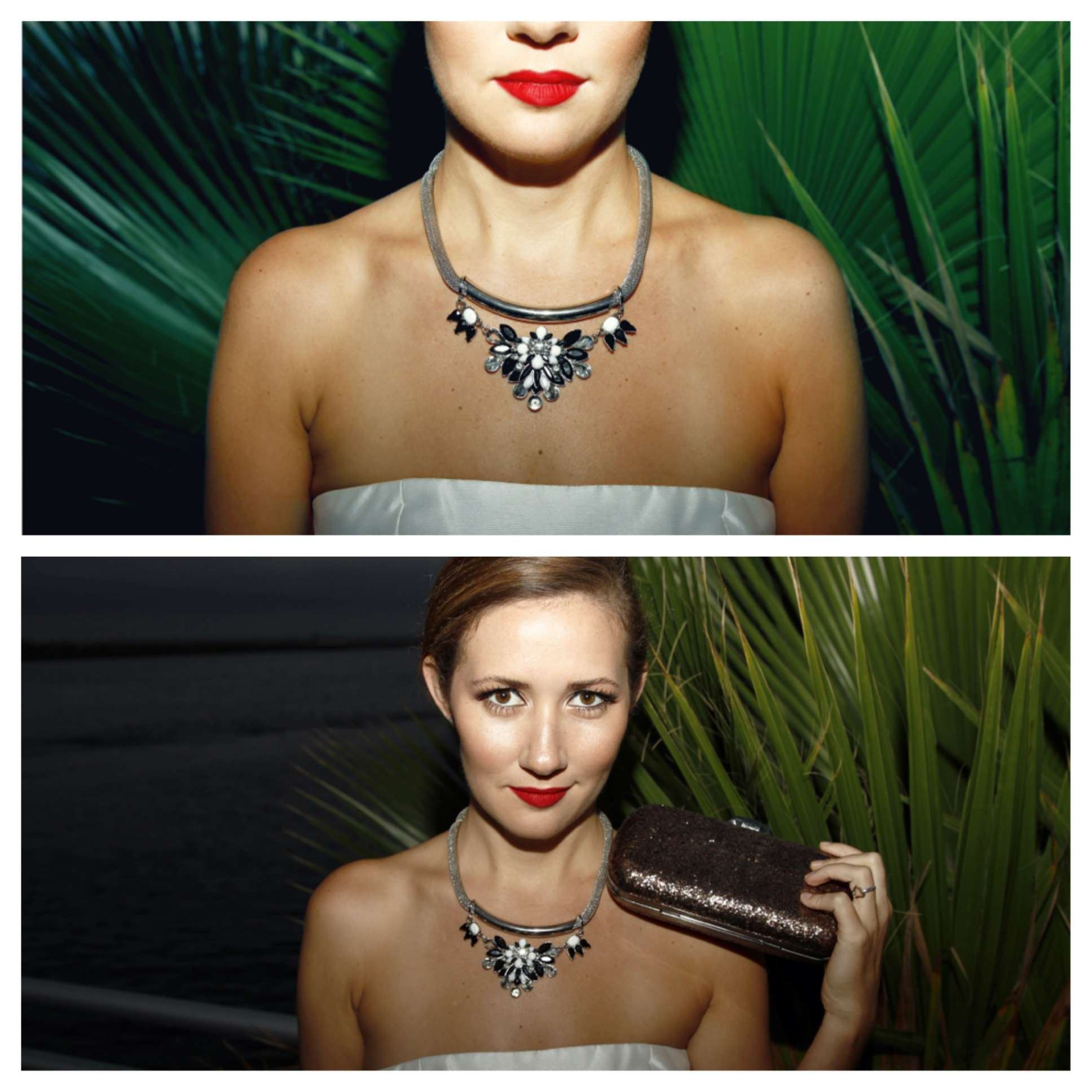 Necklace,  Topshop . Clutch,  House of Harlow 1960