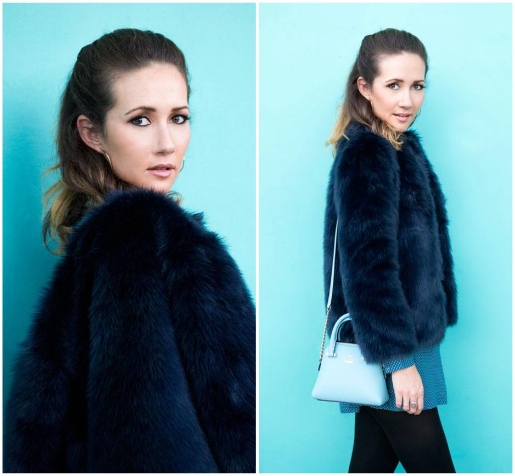 Navy blue faux-fur jacket,  Zara .