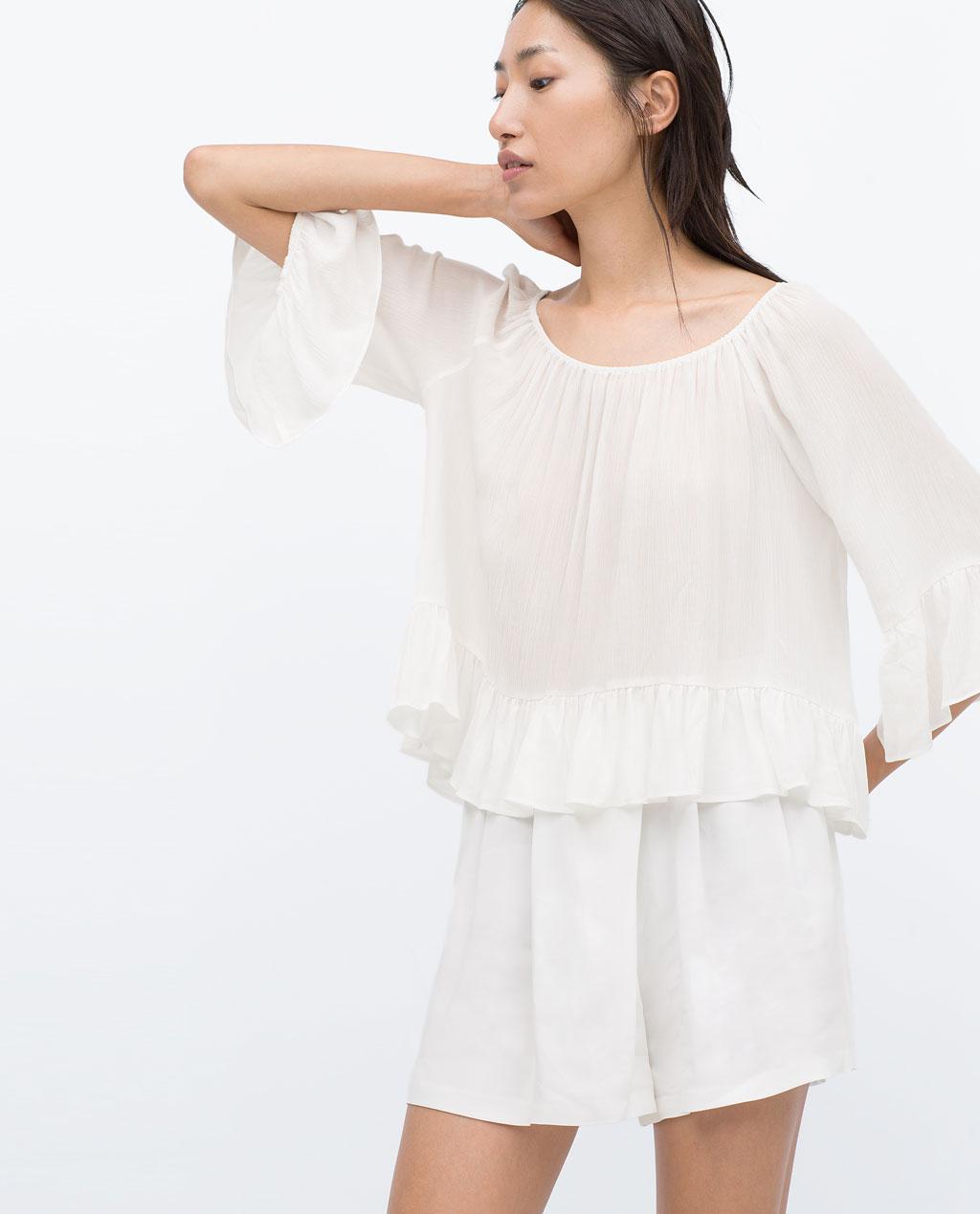 Zara boathouse white blouse