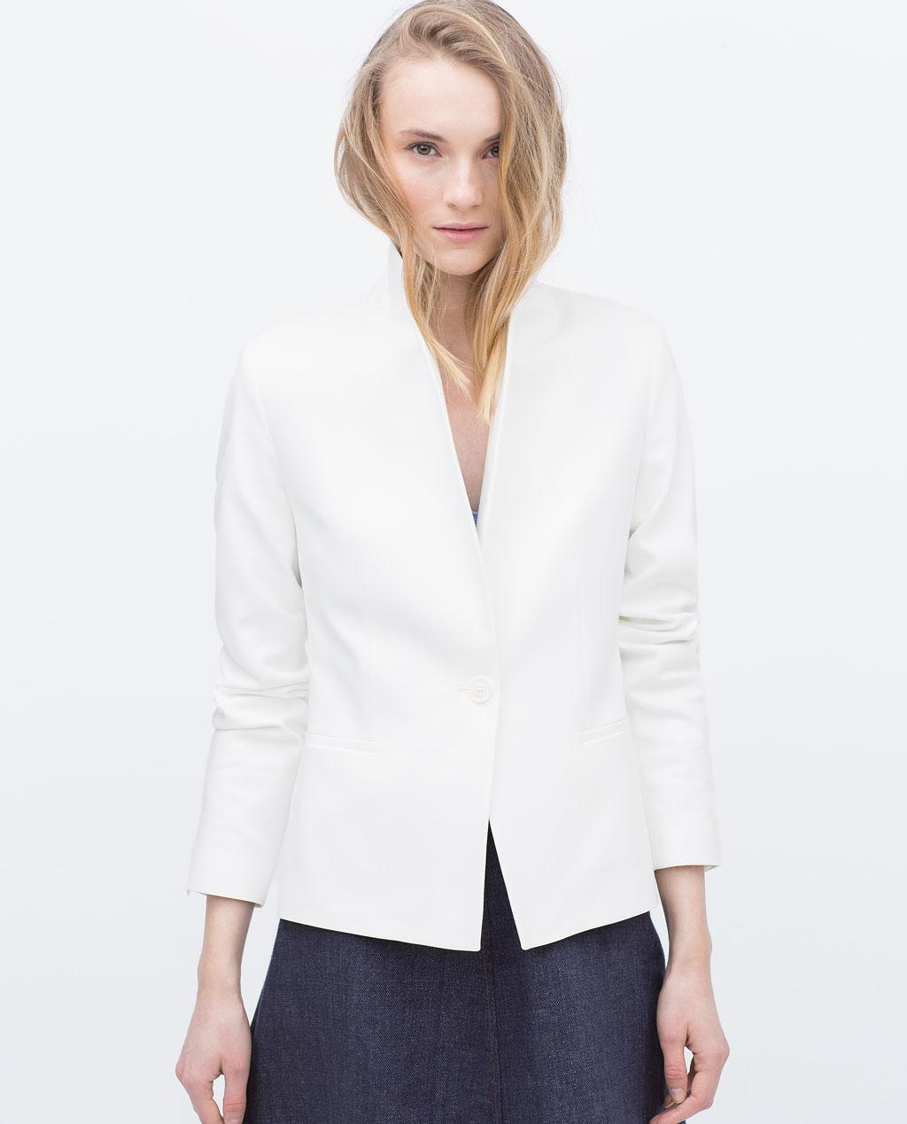 Zara double fabric blazer white