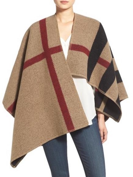 Burberry Prorsum Mega Check Wool and Cashmere Cape
