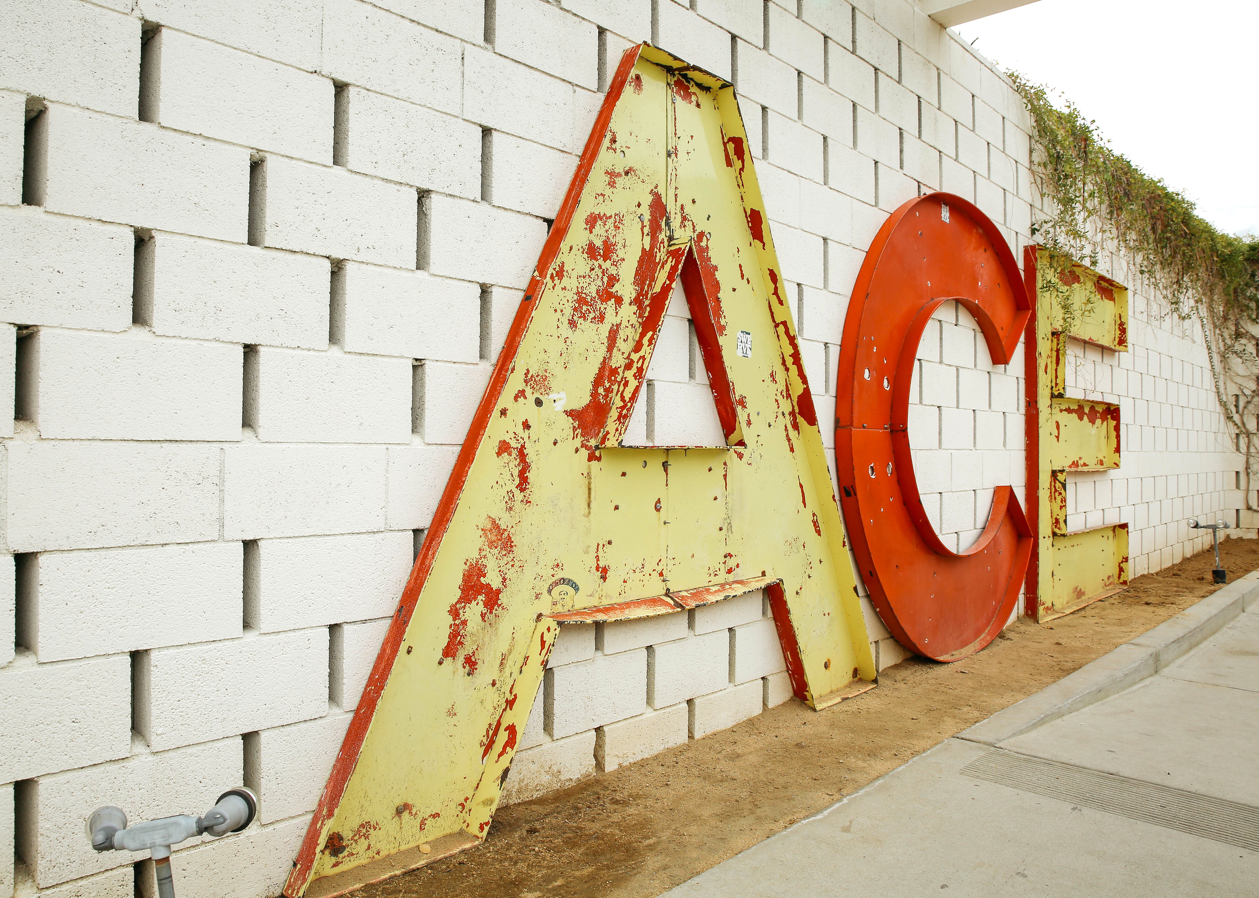 Upon arrival at the Ace Hotel and Swim Club you'll be greeted by their iconic ACE sign.
