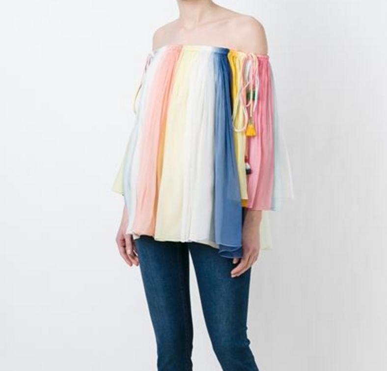 Chloe Striped Rainbow blouse Spring 2016