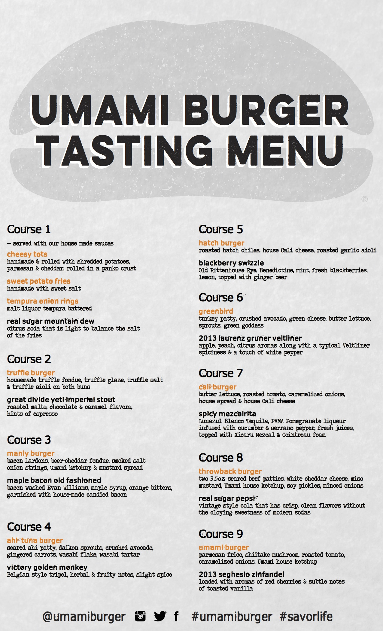Umami burger's 9- course tasting menu. Not to be taken lightly! Make sure you come hungry!