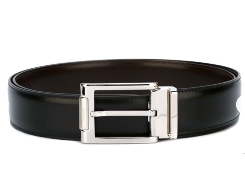 salvatore ferragamo black leather belt silver buckle
