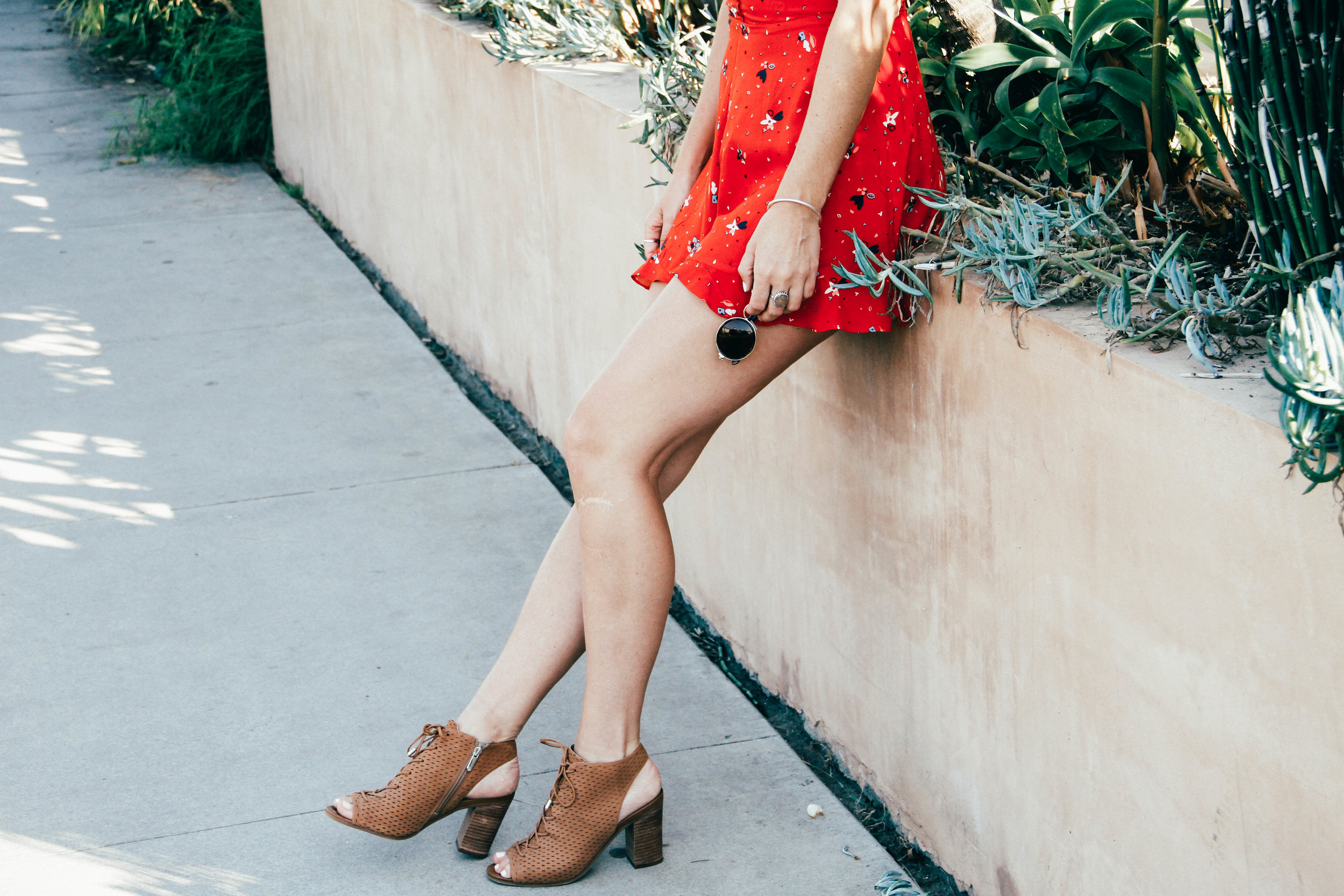The Style Sauce Fashion Blog Red Romper Sam Edelman Booties