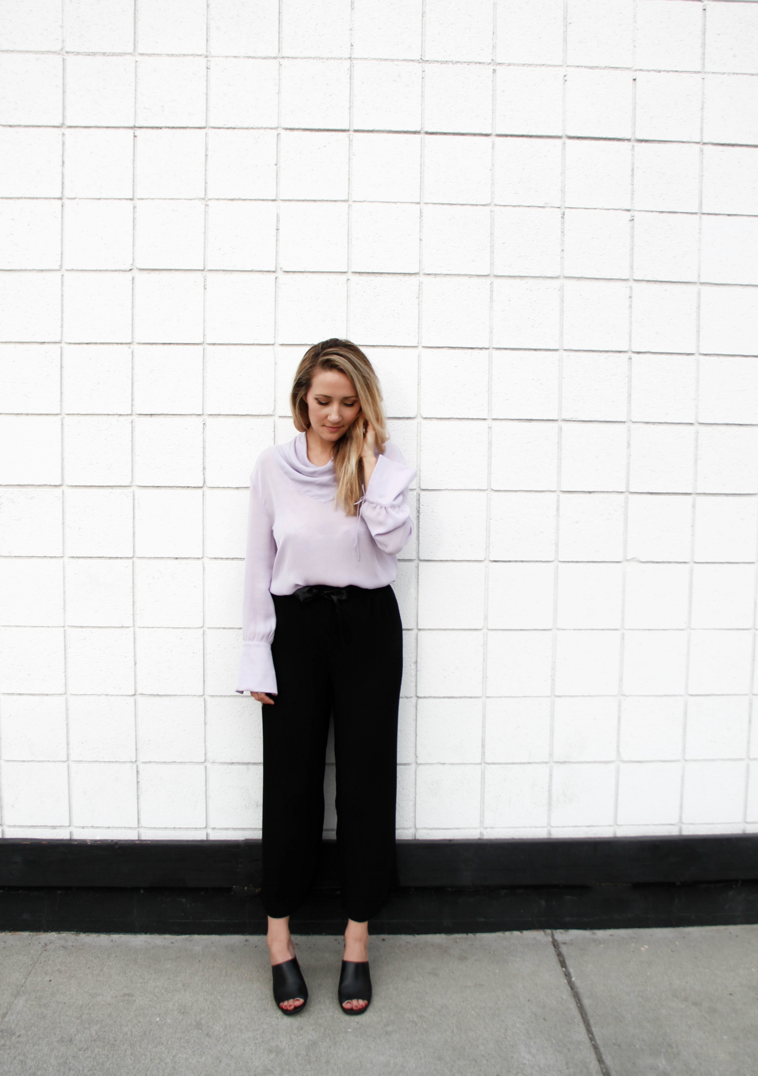 Blouse and plisse pleated trousers,  Topshop