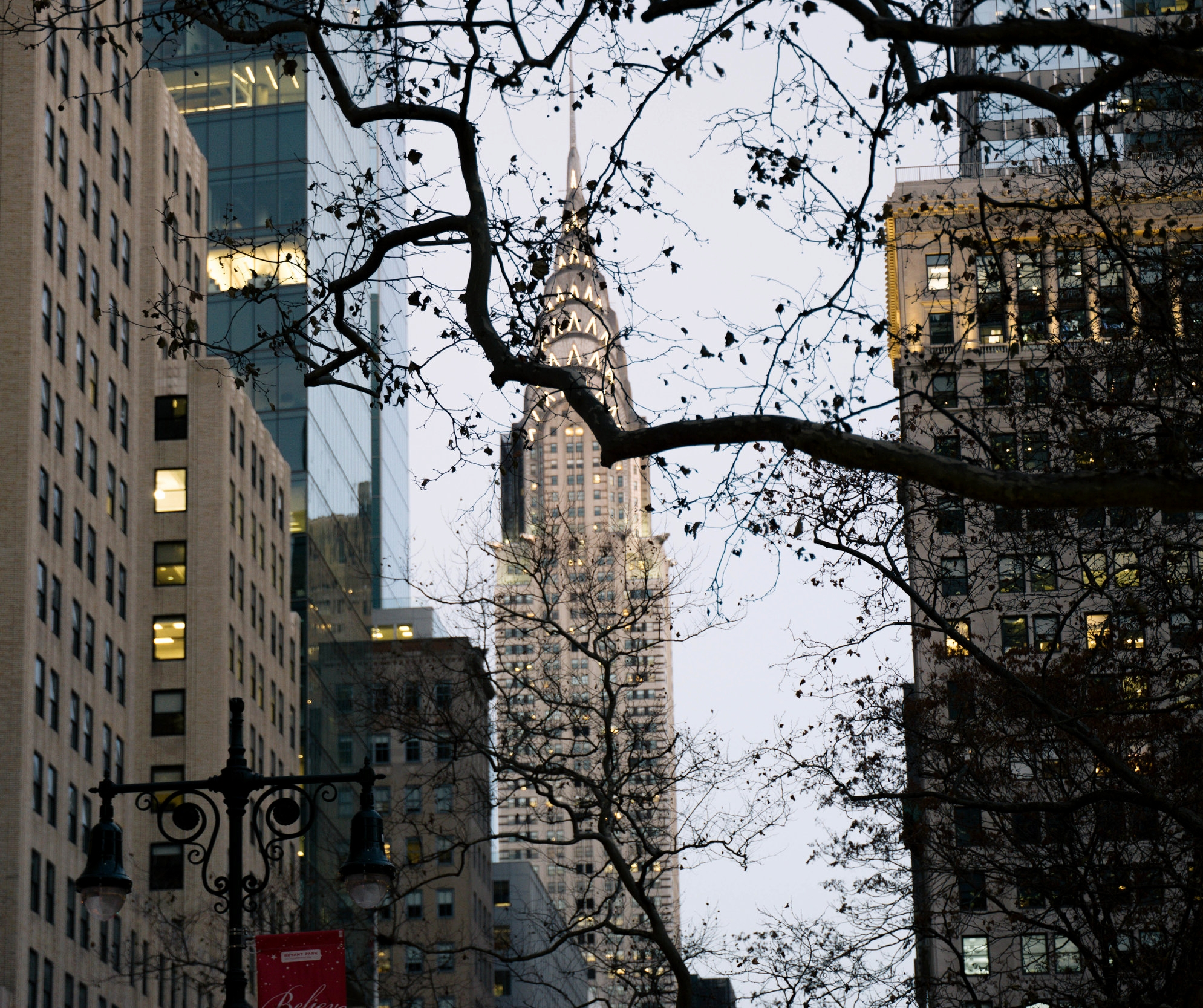 View of The Chrysler Building from Bryant Park