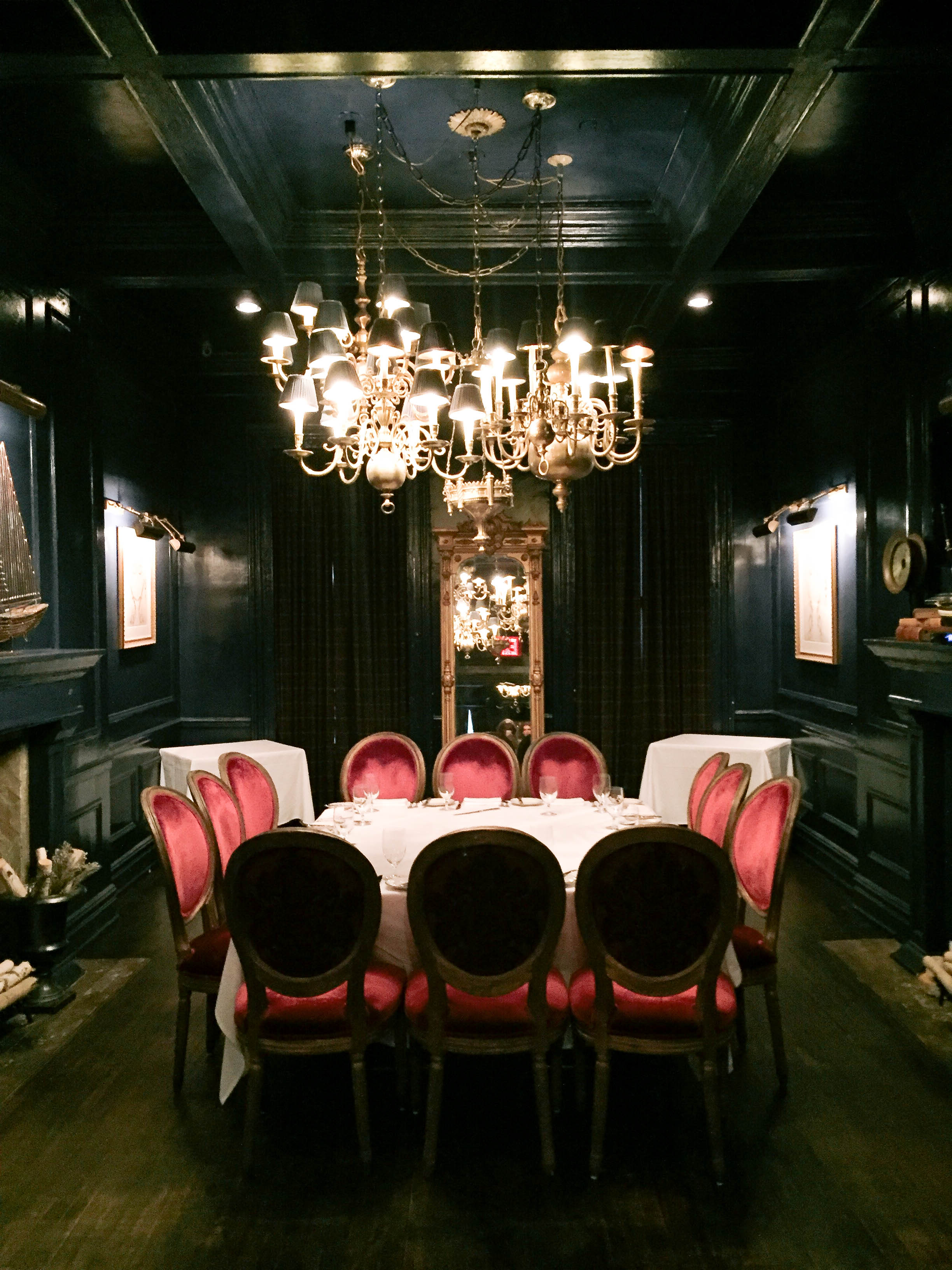 The private upstairs dining room at Bill's Townhouse, NYC.