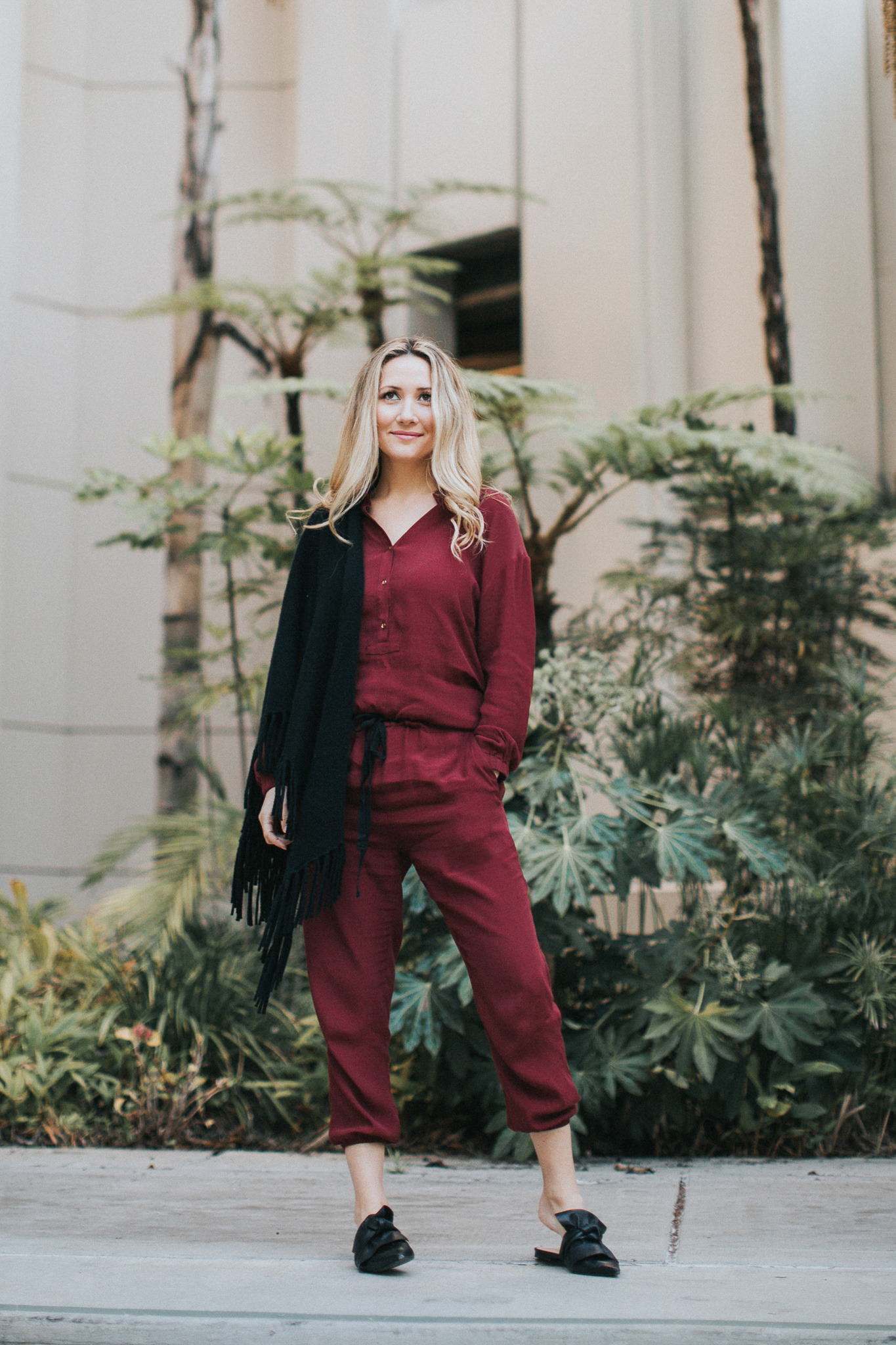 "Azalea SF tie-front jumpsuit in ""red wine"" :  shop here."