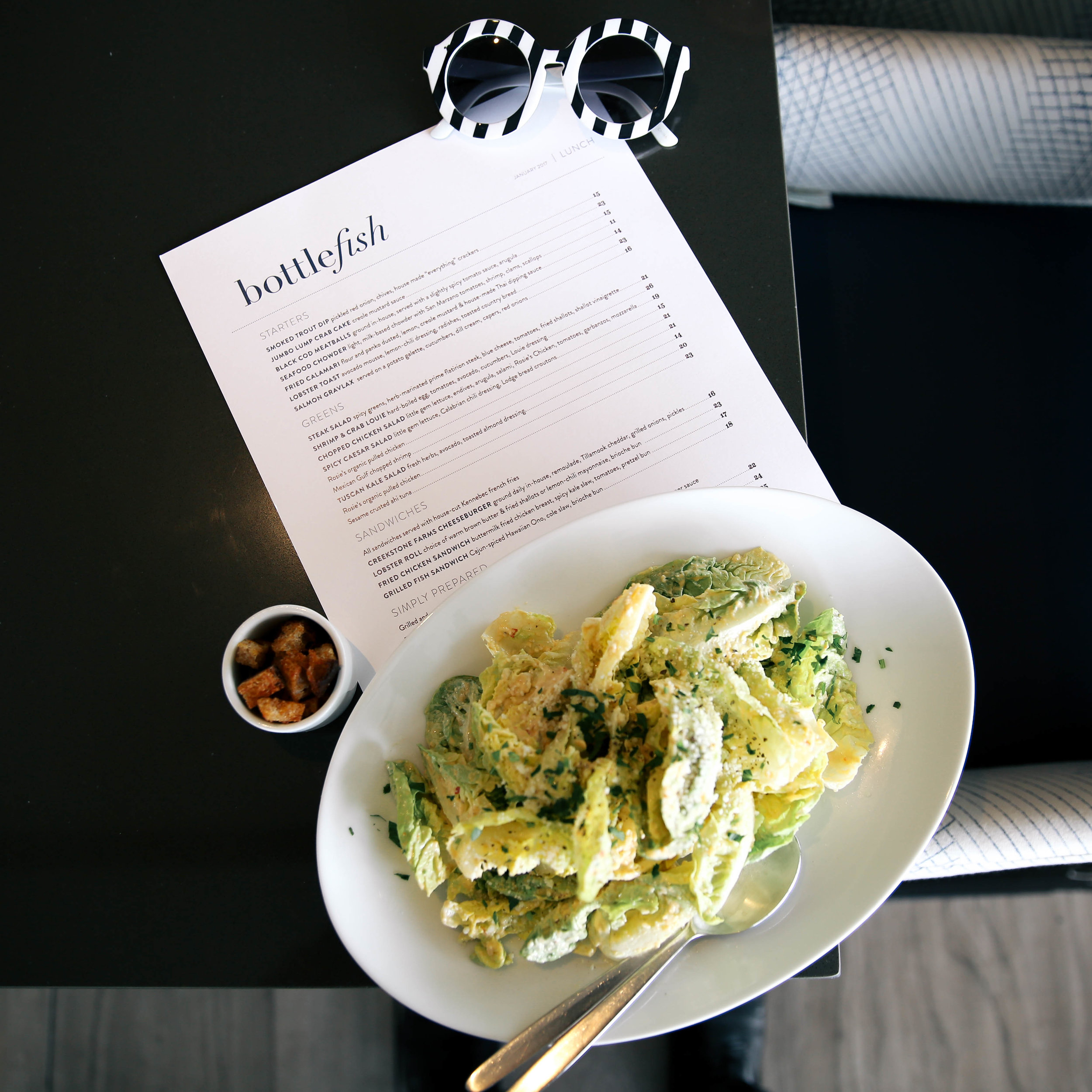 Bottlefish Los Angeles menu spicy caesar salad The Style Sauce blog